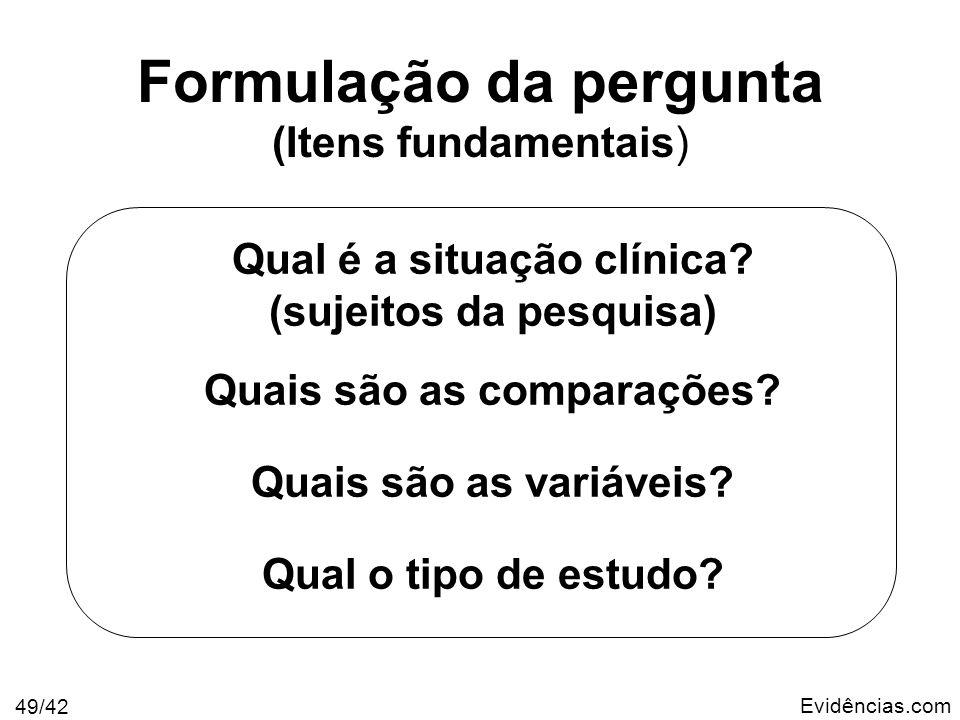 Formulação da pergunta (Itens fundamentais)
