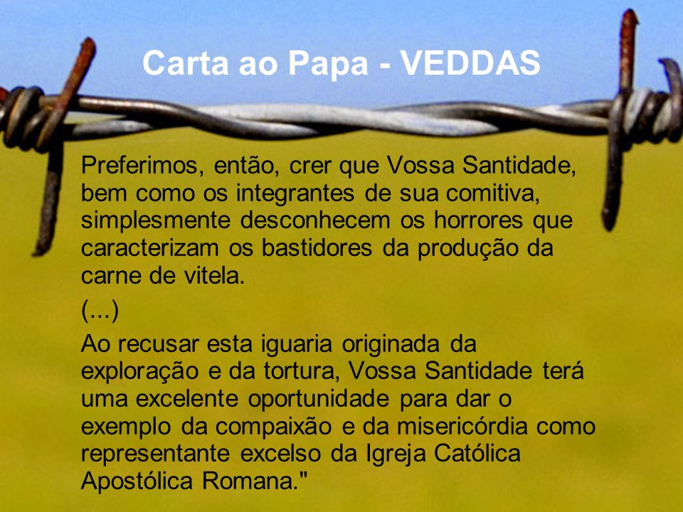 Carta ao Papa - VEDDAS