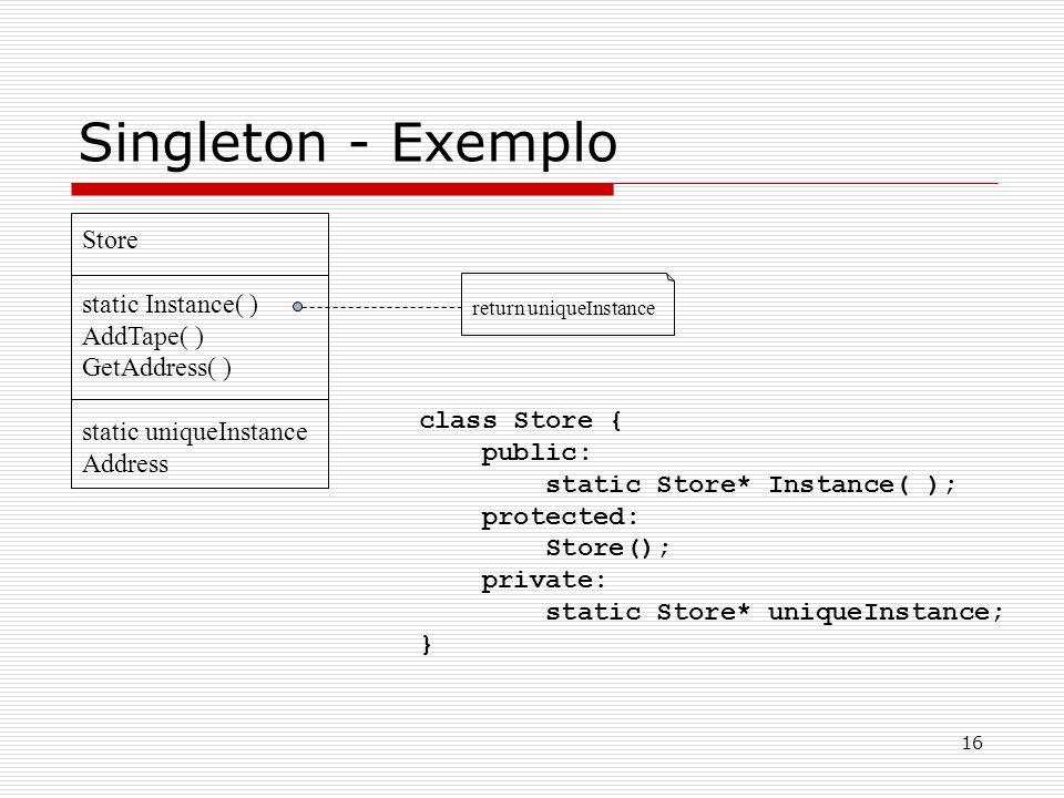 Singleton - Exemplo Store static Instance( ) AddTape( ) GetAddress( )