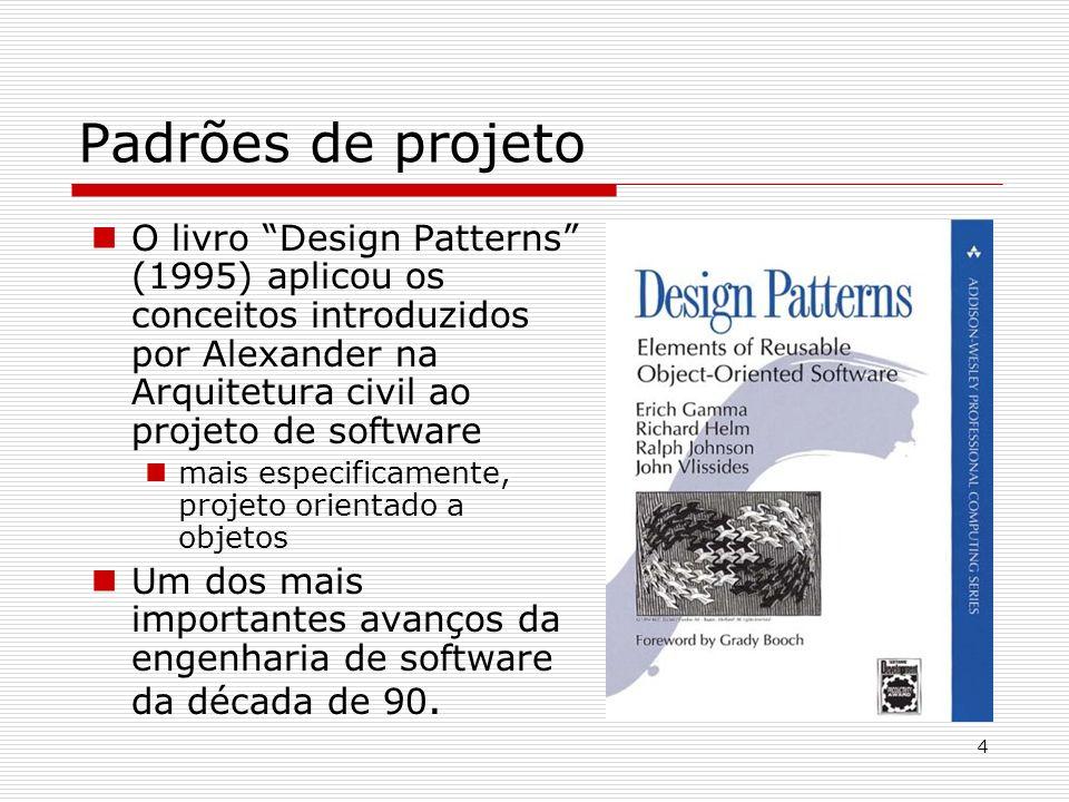 Padrões de projeto O livro Design Patterns (1995) aplicou os conceitos introduzidos por Alexander na Arquitetura civil ao projeto de software.