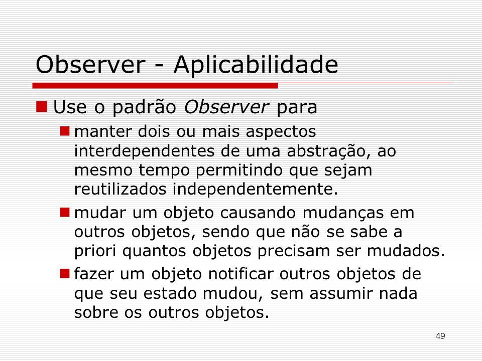 Observer - Aplicabilidade