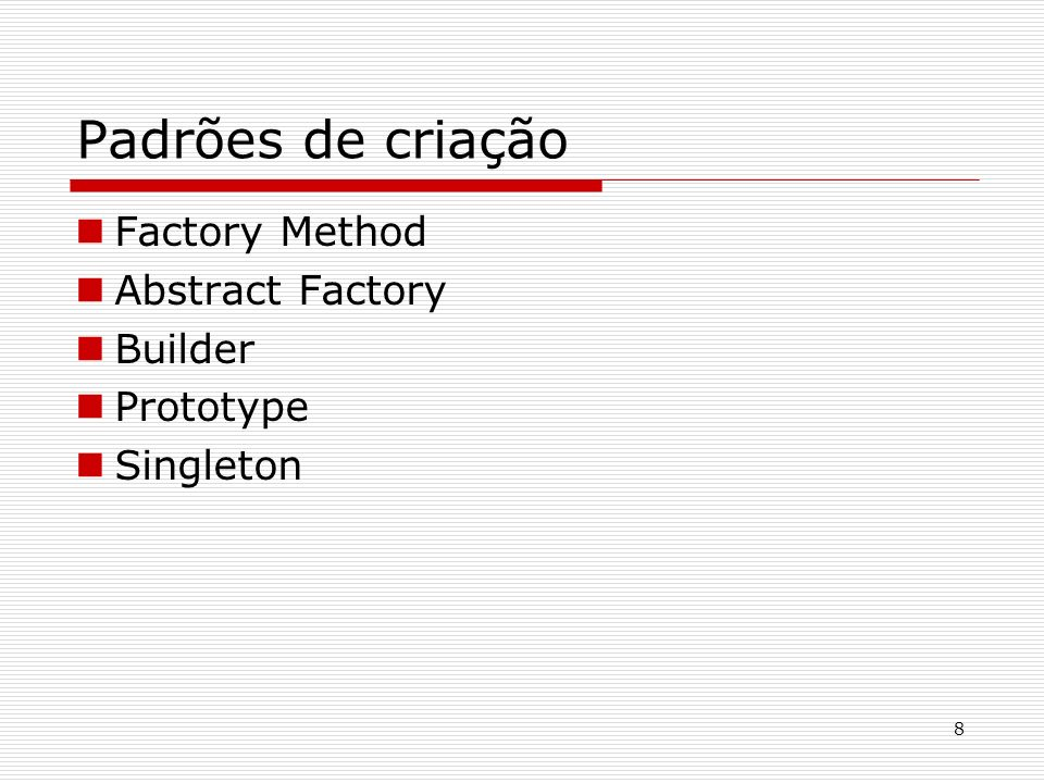 Padrões de criação Factory Method Abstract Factory Builder Prototype