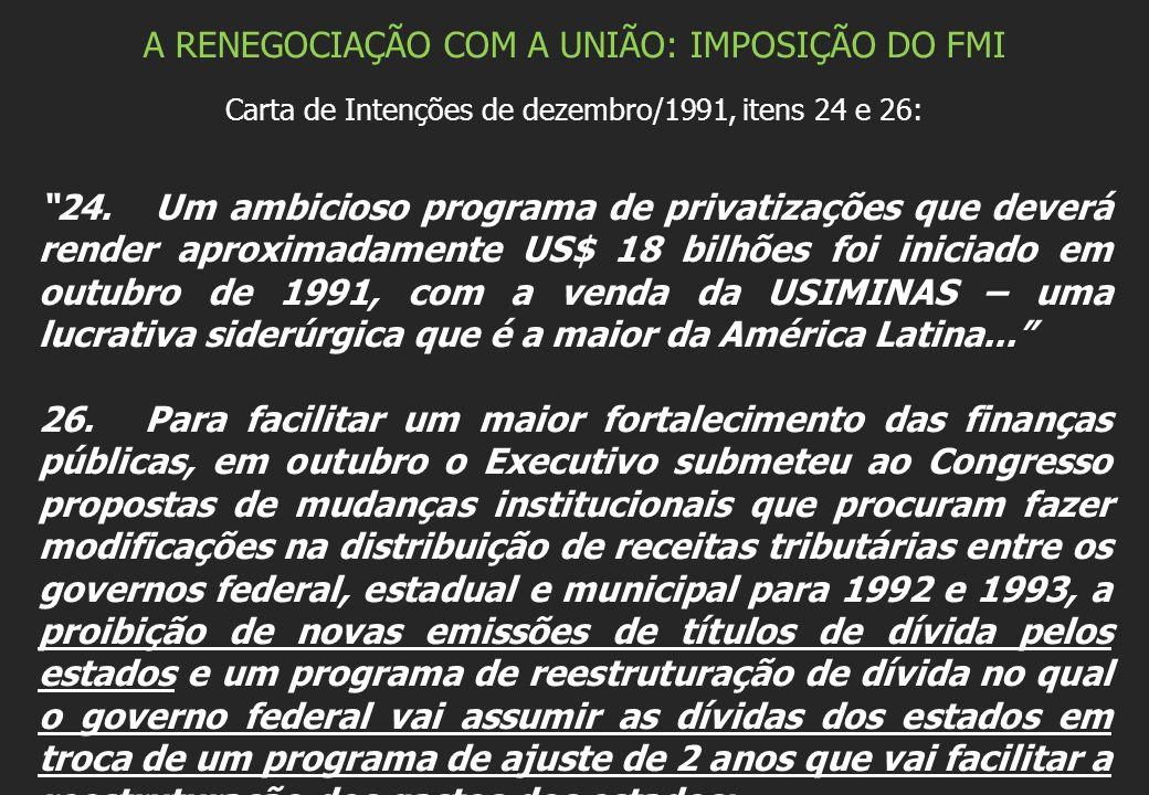 A RENEGOCIAÇÃO COM A UNIÃO: IMPOSIÇÃO DO FMI