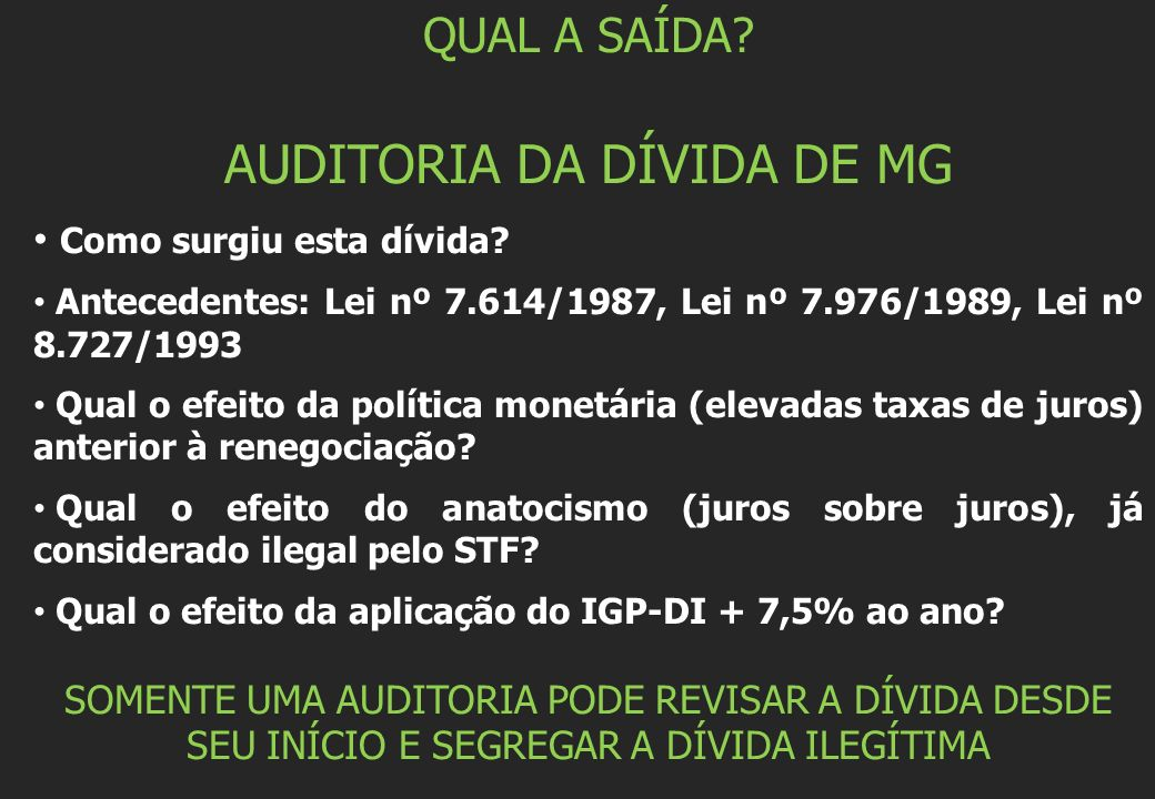 AUDITORIA DA DÍVIDA DE MG