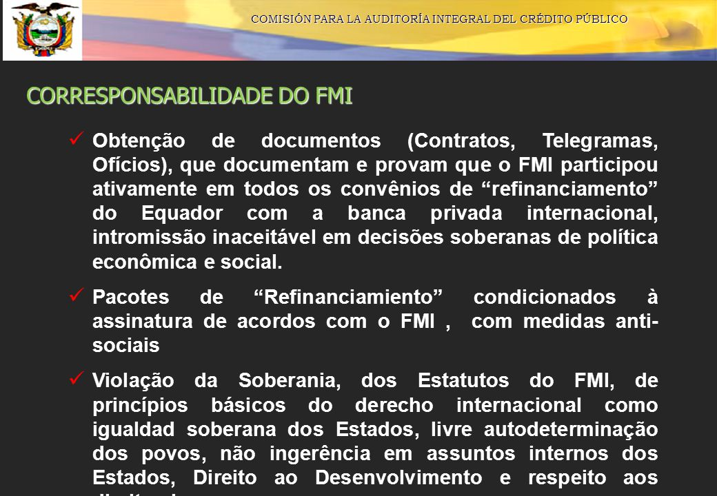 CORRESPONSABILIDADE DO FMI