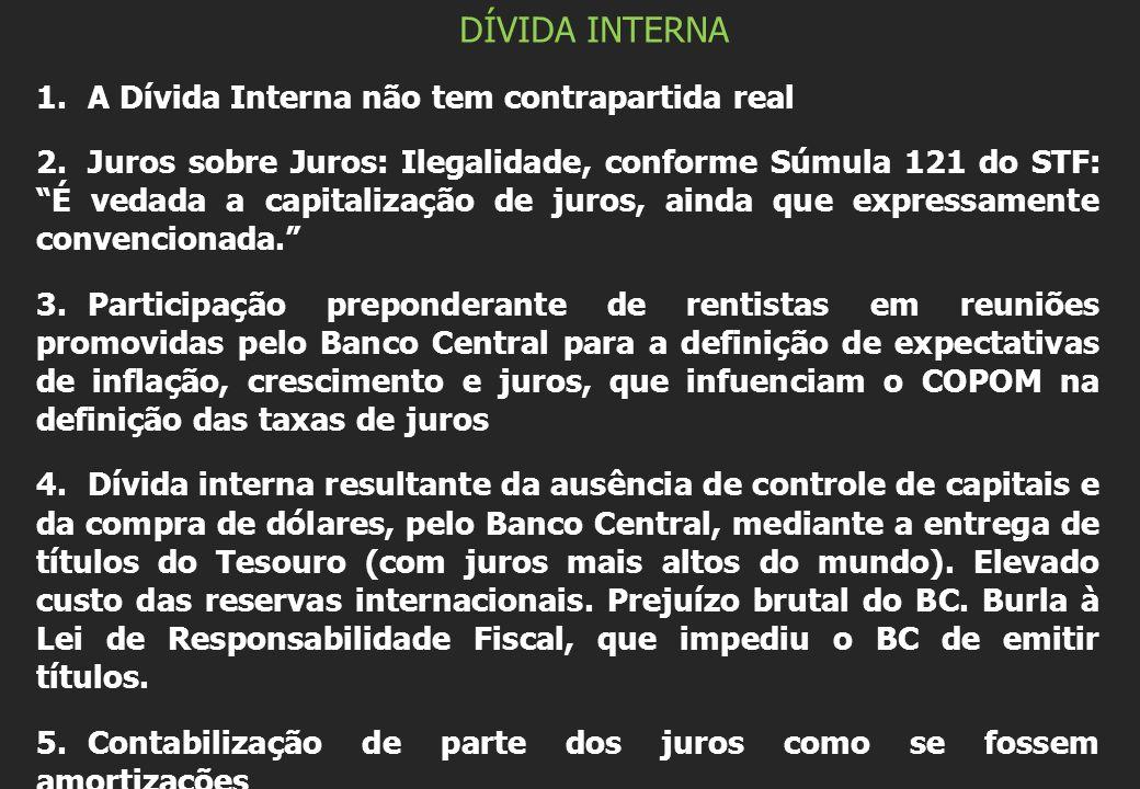 DÍVIDA INTERNA A Dívida Interna não tem contrapartida real