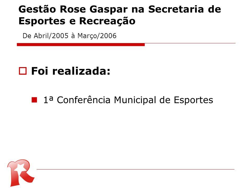 Gestão Rose Gaspar na Secretaria de Esportes e Recreação De Abril/2005 à Março/2006