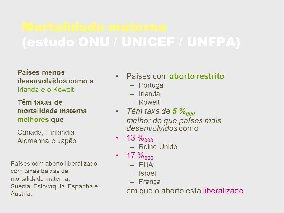 Mortalidade materna (estudo ONU / UNICEF / UNFPA)