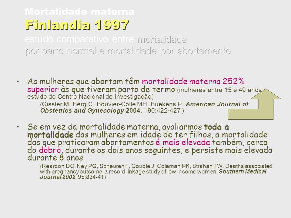 Mortalidade materna Finlandia 1997 estudo comparativo entre mortalidade por parto normal e mortalidade por abortamento