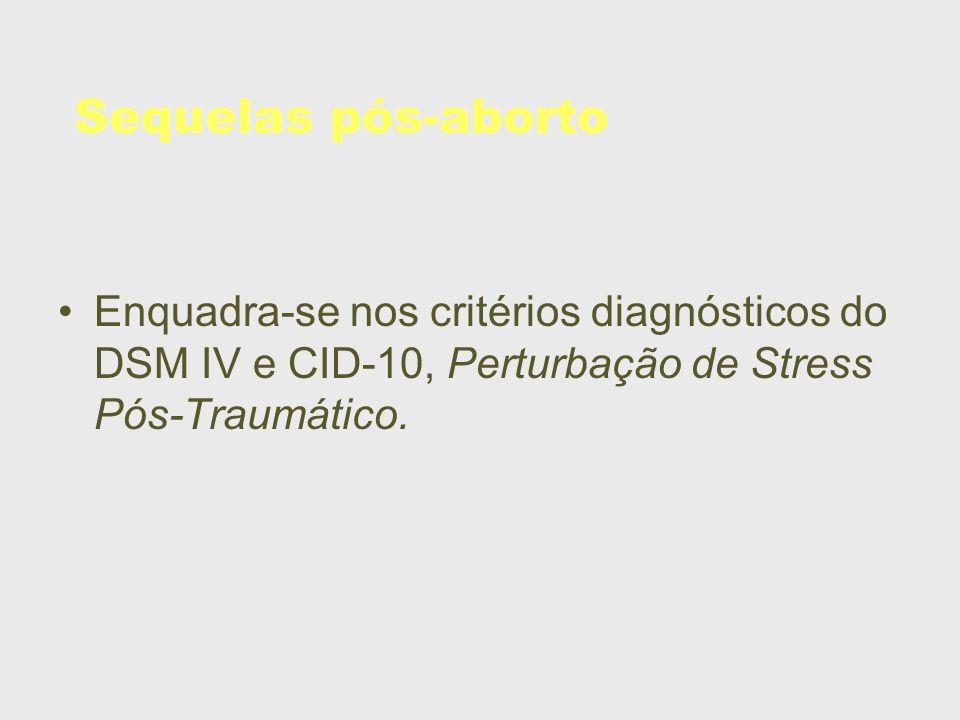 Sequelas pós-abortoEnquadra-se nos critérios diagnósticos do DSM IV e CID-10, Perturbação de Stress Pós-Traumático.
