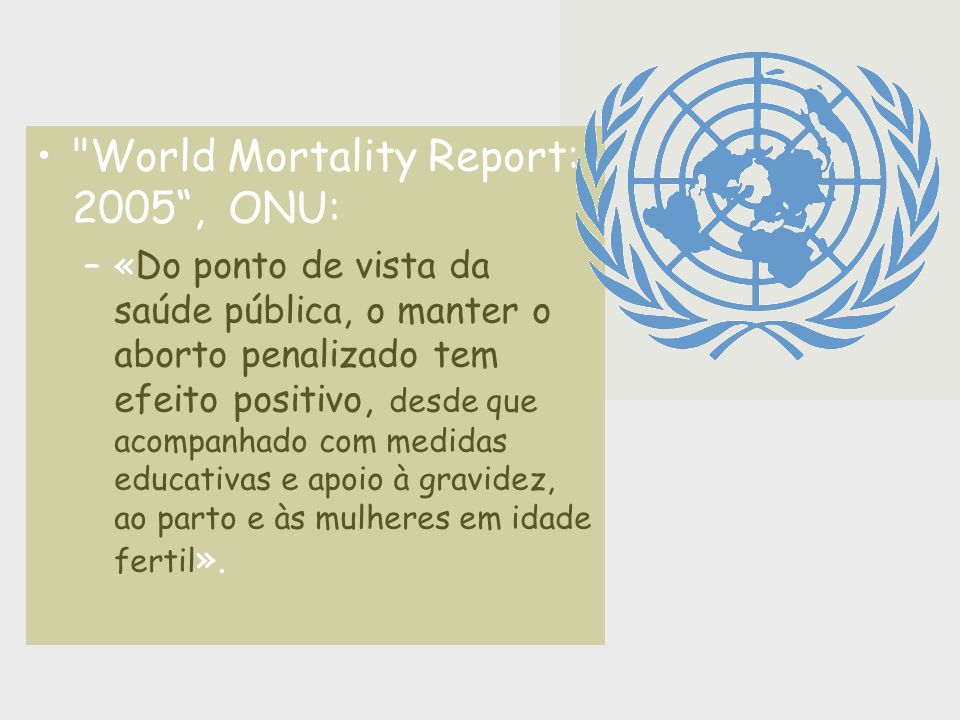 World Mortality Report: 2005 , ONU: