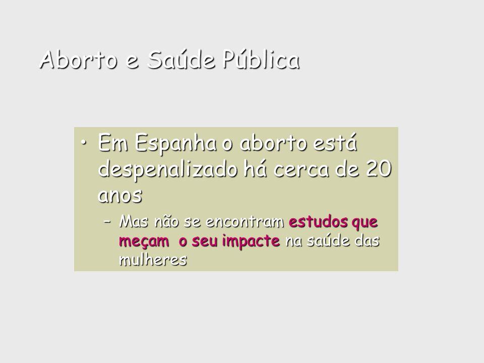 Aborto e Saúde PúblicaEm Espanha o aborto está despenalizado há cerca de 20 anos.