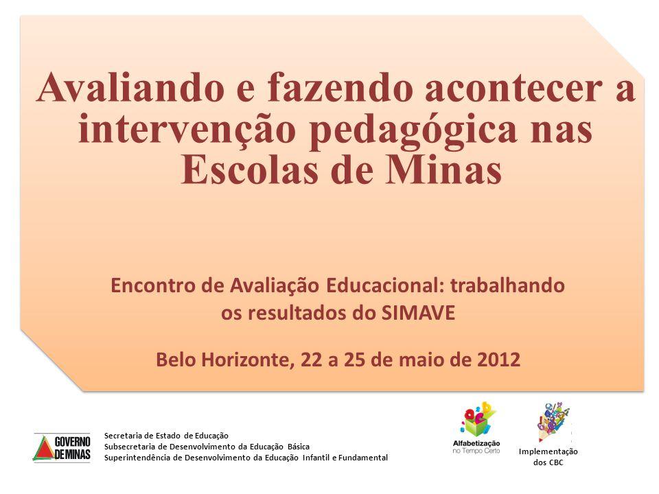 Avaliando e fazendo acontecer a intervenção pedagógica nas Escolas de Minas