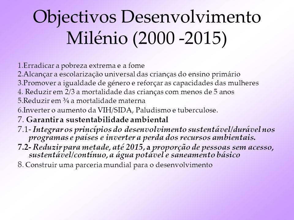 Objectivos Desenvolvimento Milénio (2000 -2015)
