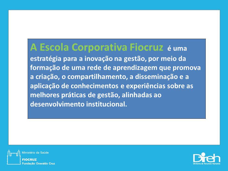 A Escola Corporativa Fiocruz é uma estratégia para a inovação na gestão, por meio da formação de uma rede de aprendizagem que promova a criação, o compartilhamento, a disseminação e a aplicação de conhecimentos e experiências sobre as melhores práticas de gestão, alinhadas ao desenvolvimento institucional.