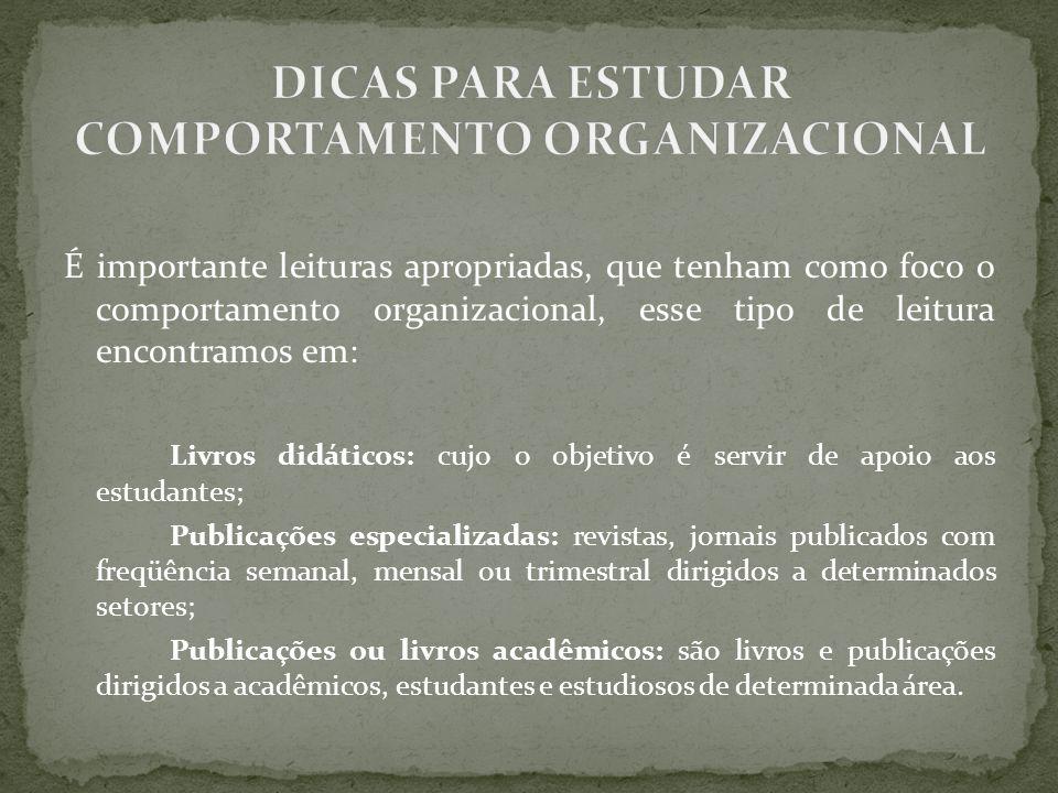 DICAS PARA ESTUDAR COMPORTAMENTO ORGANIZACIONAL