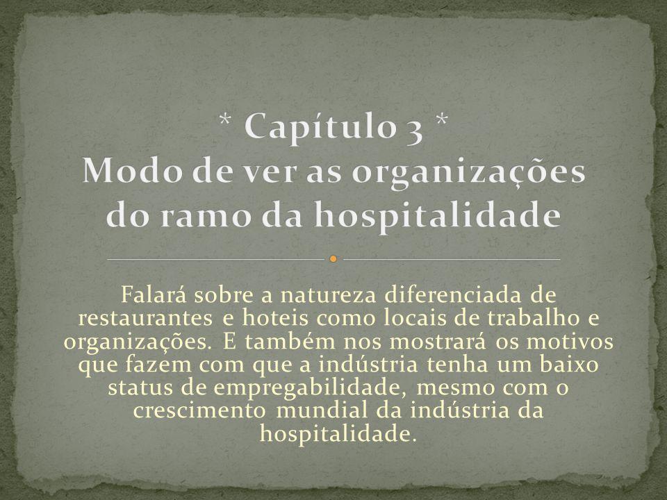 * Capítulo 3 * Modo de ver as organizações do ramo da hospitalidade