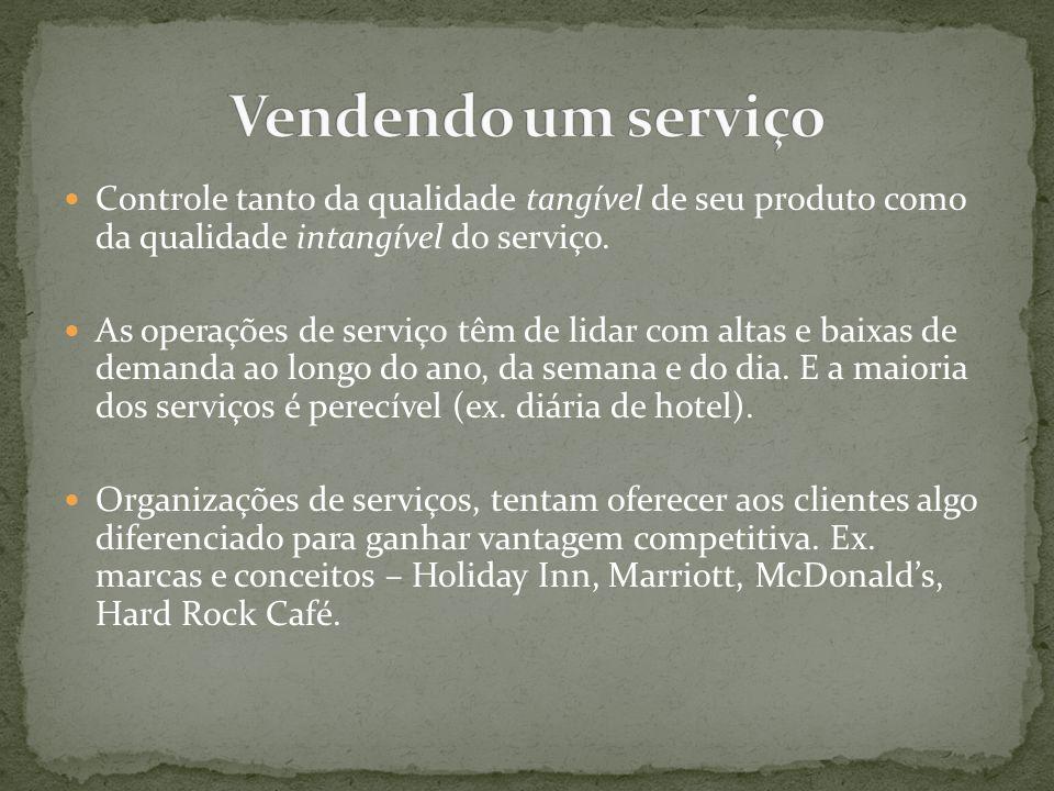 Vendendo um serviço Controle tanto da qualidade tangível de seu produto como da qualidade intangível do serviço.