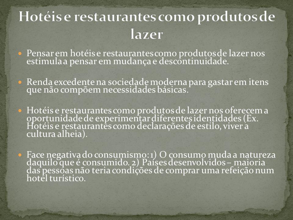 Hotéis e restaurantes como produtos de lazer