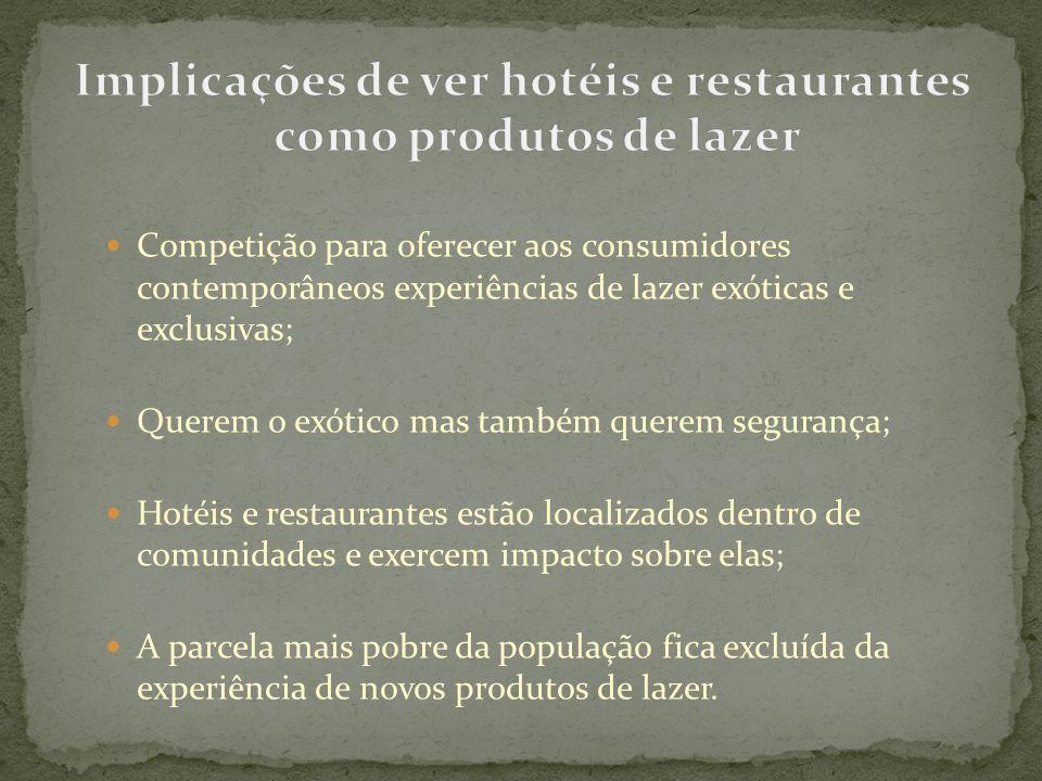 Implicações de ver hotéis e restaurantes como produtos de lazer