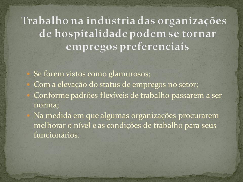 Trabalho na indústria das organizações de hospitalidade podem se tornar empregos preferenciais