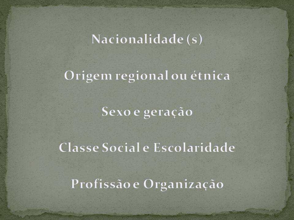 Nacionalidade (s) Origem regional ou étnica Sexo e geração Classe Social e Escolaridade Profissão e Organização