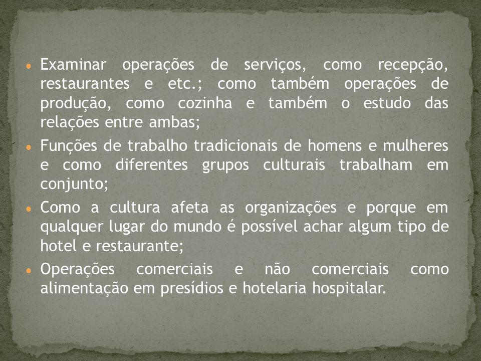 Examinar operações de serviços, como recepção, restaurantes e etc