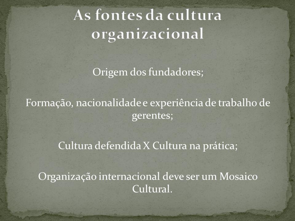 As fontes da cultura organizacional