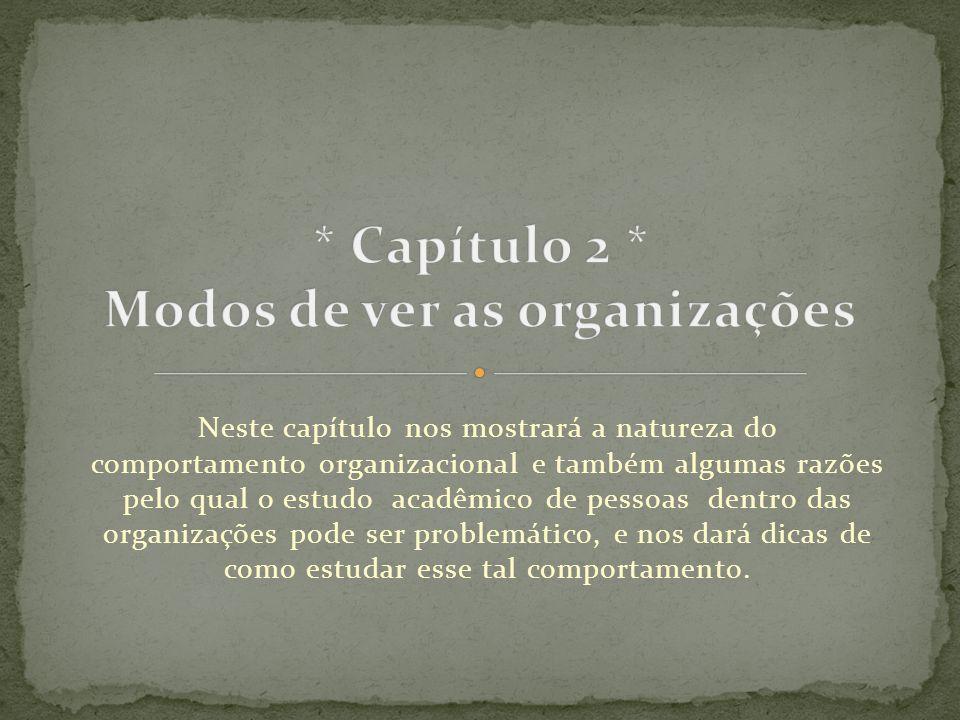 * Capítulo 2 * Modos de ver as organizações