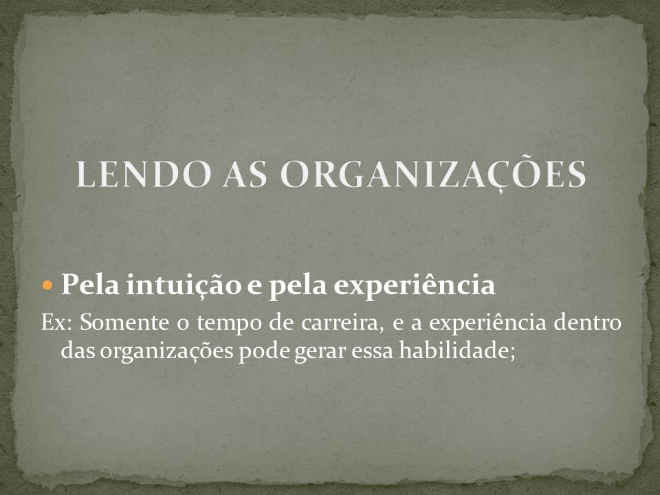 LENDO AS ORGANIZAÇÕES Pela intuição e pela experiência