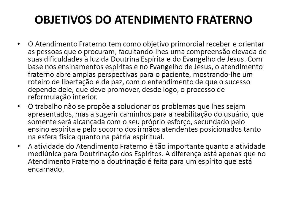 OBJETIVOS DO ATENDIMENTO FRATERNO