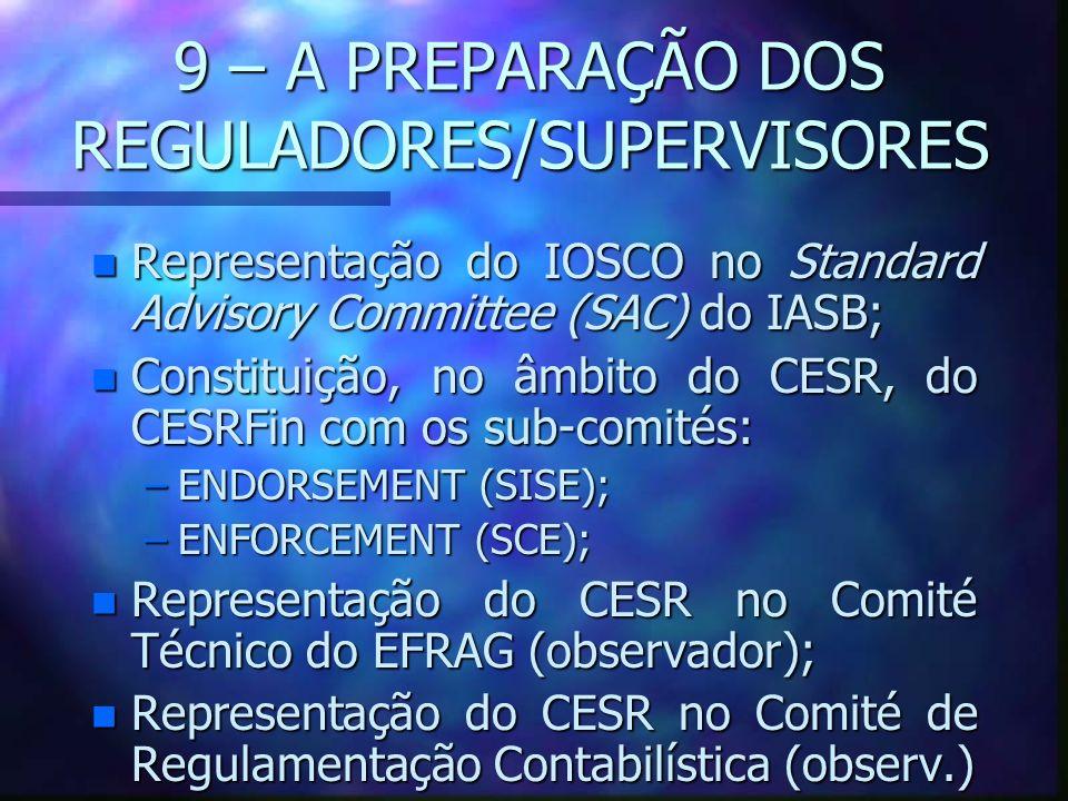 9 – A PREPARAÇÃO DOS REGULADORES/SUPERVISORES