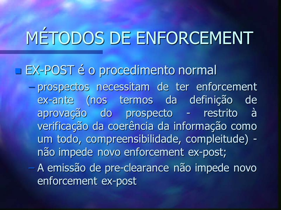 MÉTODOS DE ENFORCEMENT