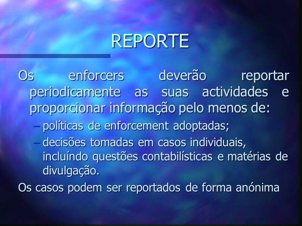 REPORTEOs enforcers deverão reportar periodicamente as suas actividades e proporcionar informação pelo menos de: