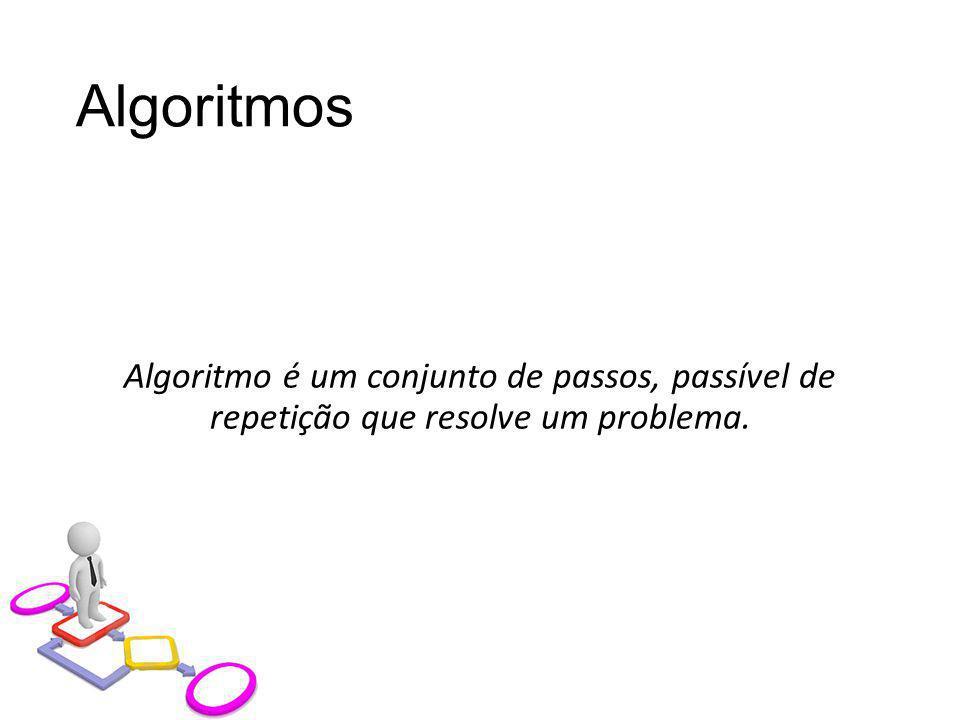 Algoritmos Algoritmo é um conjunto de passos, passível de repetição que resolve um problema.