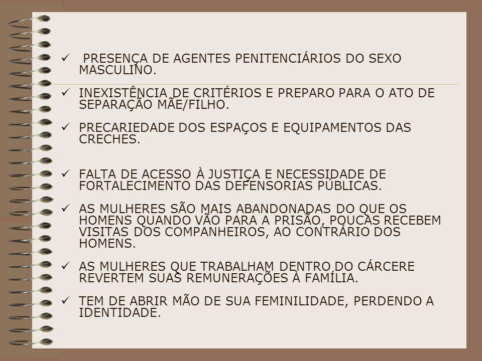 PRESENÇA DE AGENTES PENITENCIÁRIOS DO SEXO MASCULINO.