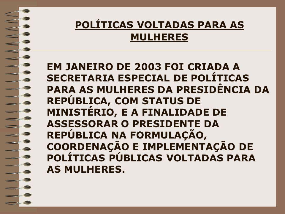 POLÍTICAS VOLTADAS PARA AS MULHERES