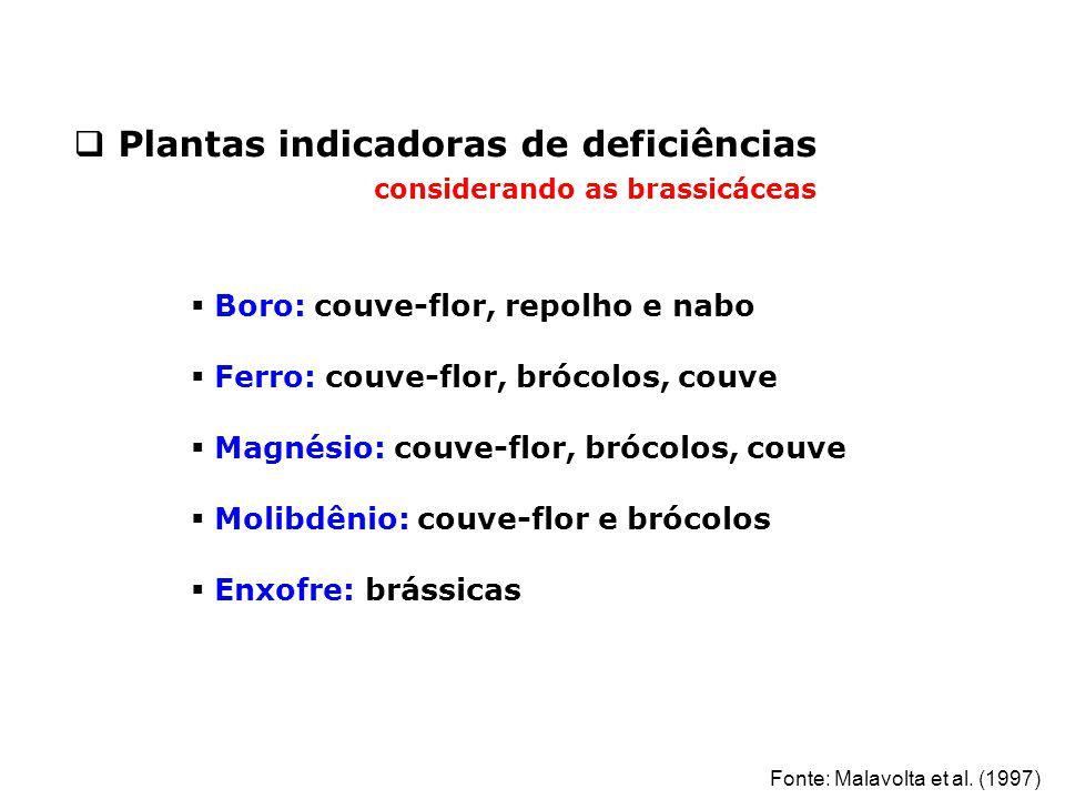 Plantas indicadoras de deficiências considerando as brassicáceas