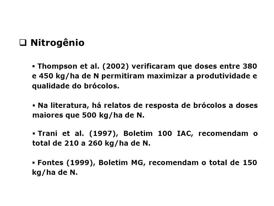 Nitrogênio Thompson et al. (2002) verificaram que doses entre 380 e 450 kg/ha de N permitiram maximizar a produtividade e qualidade do brócolos.