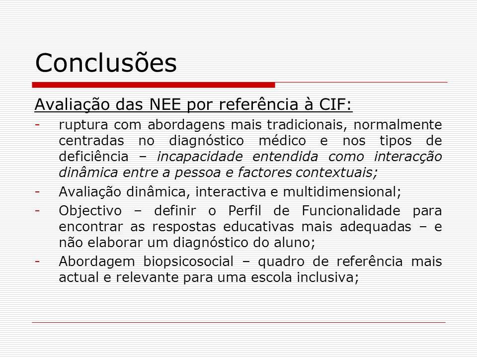 Conclusões Avaliação das NEE por referência à CIF: