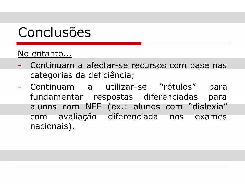 ConclusõesNo entanto... Continuam a afectar-se recursos com base nas categorias da deficiência;