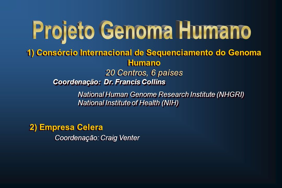 Projeto Genoma Humano 1) Consórcio Internacional de Sequenciamento do Genoma Humano 20 Centros, 6 países.