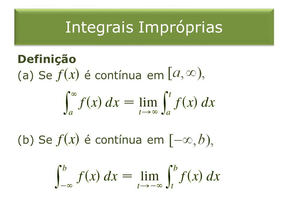 Integrais Impróprias Definição (a) Se é contínua em (b) Se é contínua em
