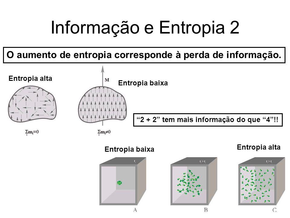 O aumento de entropia corresponde à perda de informação.