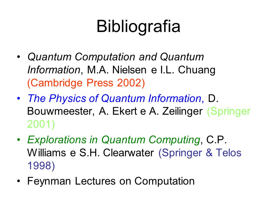 Bibliografia Quantum Computation and Quantum Information, M.A. Nielsen e I.L. Chuang (Cambridge Press 2002)