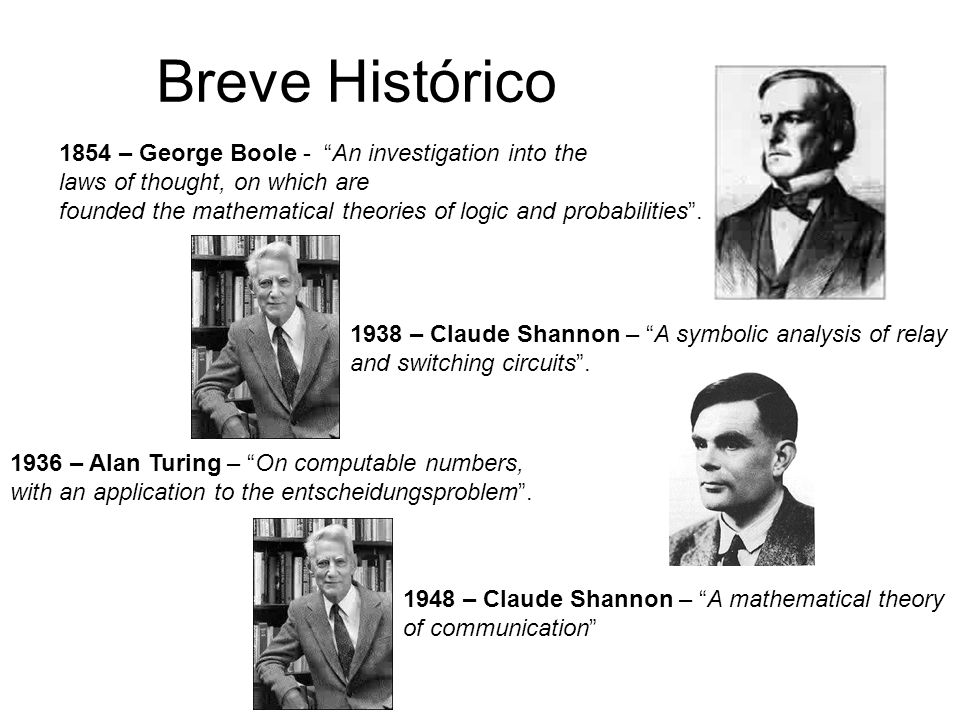 Breve Histórico 1854 – George Boole - An investigation into the