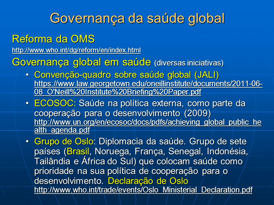 Governança da saúde global