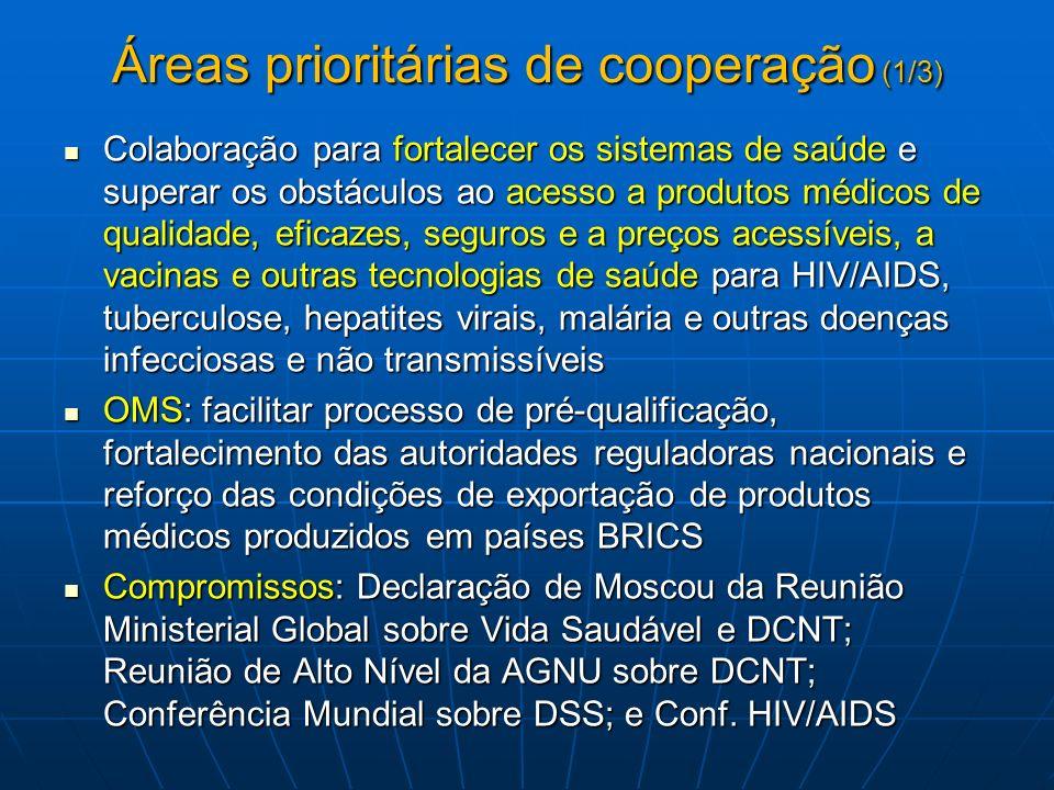 Áreas prioritárias de cooperação (1/3)