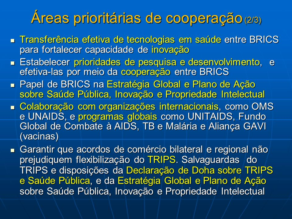 Áreas prioritárias de cooperação (2/3)