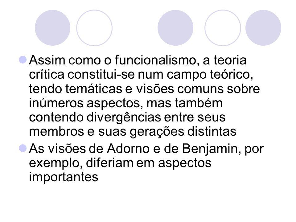 Assim como o funcionalismo, a teoria crítica constitui-se num campo teórico, tendo temáticas e visões comuns sobre inúmeros aspectos, mas também contendo divergências entre seus membros e suas gerações distintas